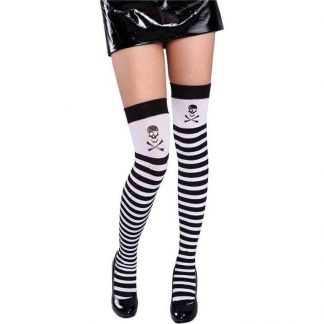 Black and White Stripe with Skull Thigh Highs