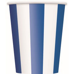Striped Royal Blue Paper Cups