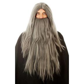 Wizard Merlin Long Grey Wig and Beard
