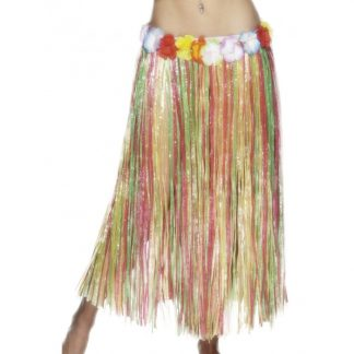 Long Multi Coloured Hawaiian Hula Skirt