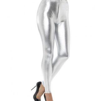 80s Metallic Disco Leggings, Silver