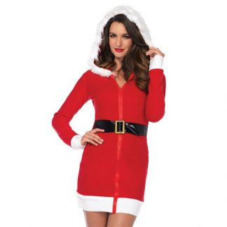 Christmas Dress W/Belt and Fur Trimmed Hood