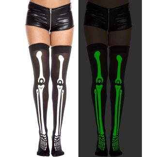 Gid Skeleton Thigh High Stockings