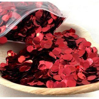Confetti Metallic 1cm Red 250 grams