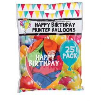 Balloons Happy B-Day Printed 25pk