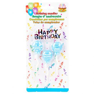Candle Balloon B/Day Blue