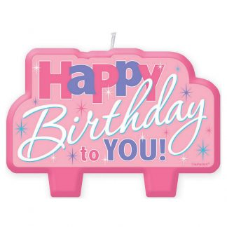 Pink Happy Birthday Candle