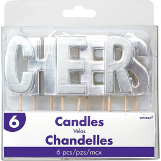 Candle Set Cheers Silver