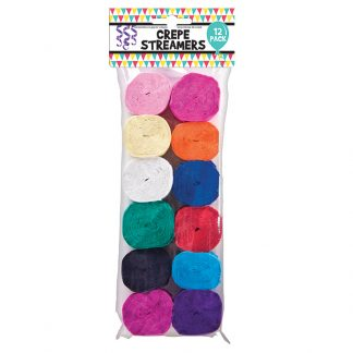 Crepe Streamers Solid Col. 12pk