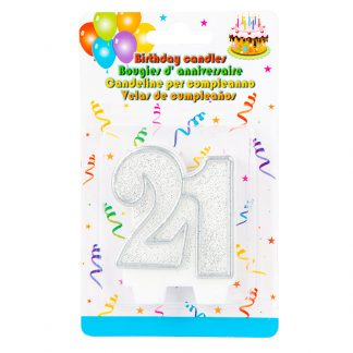 Candle 21st Glitter Silver