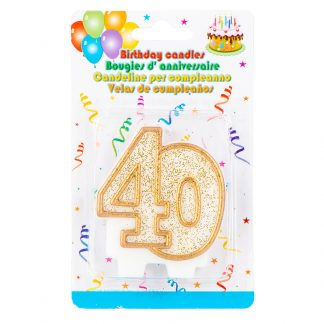 Candle 40th Glitter Gold