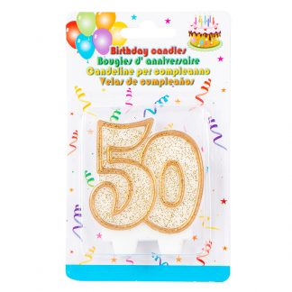 Candle 50th Glitter Gold