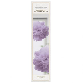 Deco Hanging Puff Purple 2pk