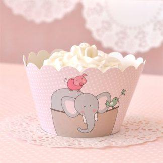 Noahs Ark Pink Cupcake Wrapper