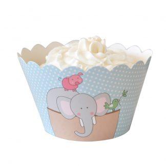 Noahs Ark Blue Cupcake Wrapper