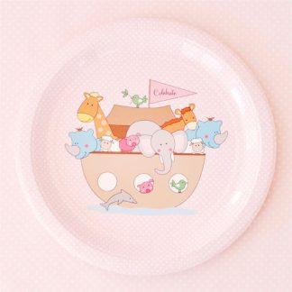 Noahs Ark Pink Plate