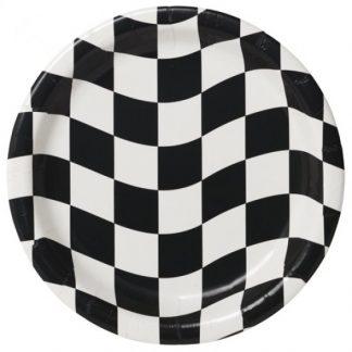 Black & White Check Dinner Plates Paper 22cm