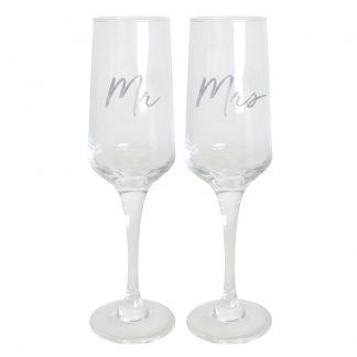 Wedding Mr & Mrs Champagne Flute Set