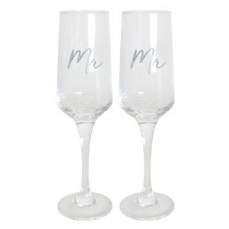 Wedding Mr & Mr Champagne Flute Set