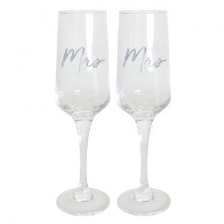 Wedding Mrs & Mrs Champagne Flute Set