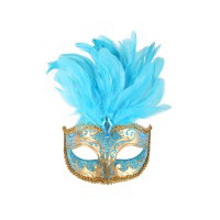 Aqua & Gold with Feathers Eye Mask