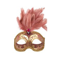 Pink & Gold with Feathers Eye Mask