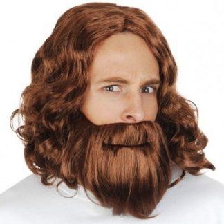 Hesus Wig and Beard Brown